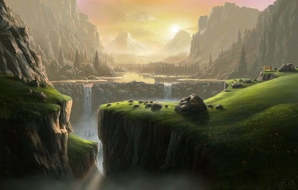 Picture forest, mountains, waterfall, Puma, Fel-X
