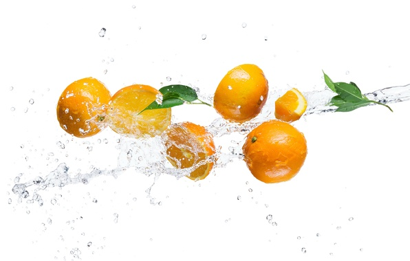 Picture water, squirt, orange, white background, leaves
