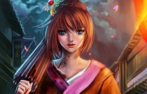 Picture girl, night, blood, umbrella, art, kimono, gintama, RikaMello, kagura