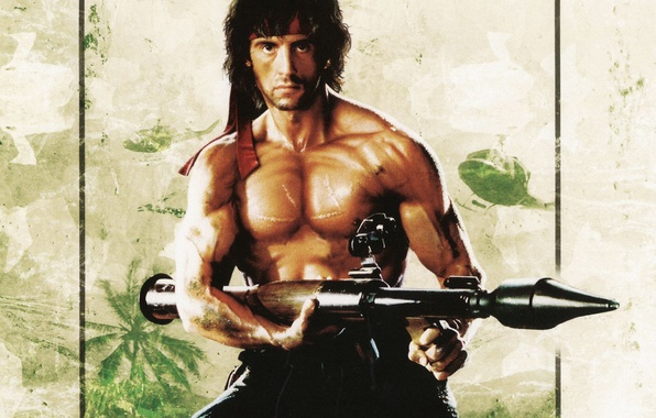 Picture strip, helicopters, rocket launcher, Sylvester Stallone, Bazooka, Sylvester Stallone, Rambo, Rambo