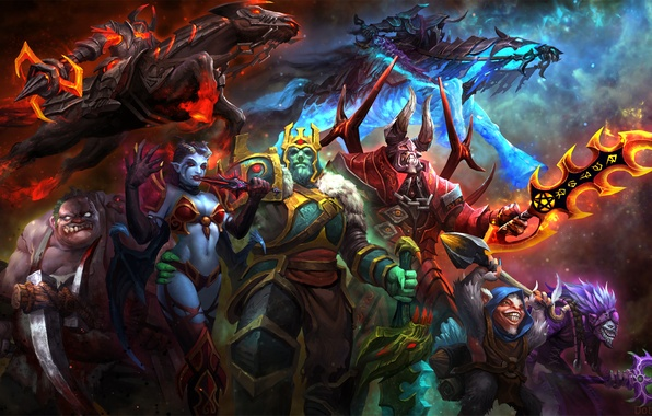 Picture art, Dota 2, Akasha, Butcher, Abaddon, Doom, Queen of Pain, Chaos Knight, Meepo, Pudge, Dazzle, …