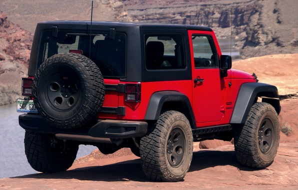 Picture Concept, red, jeep, rear view, Slim, Wrangler, Jeep
