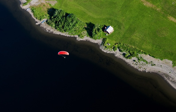 Picture flight, lake, field, home, boats, pilot, paraglider, farm, extreme sports, the shore of the lake