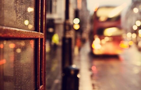 Picture road, glass, drops, macro, the city, lights, rain, England, London, lights, UK, bus, bokeh, London, …