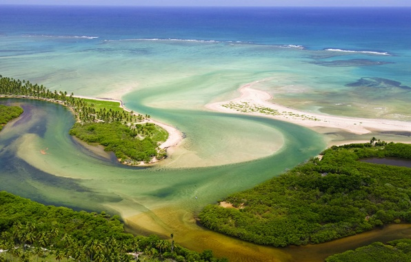 Picture sea, landscape, river, Brazil, mouth, Tatuamunha