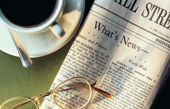 Picture coffee, glasses, spoon, Cup, newspaper, news, 1920x1080, Cup holder, news