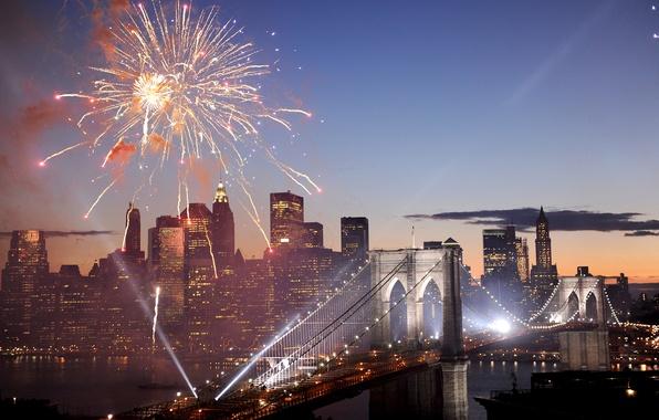Picture bridge, salute, fireworks, USA, America, New York, New York, Brooklyn Bridge, Fireworks