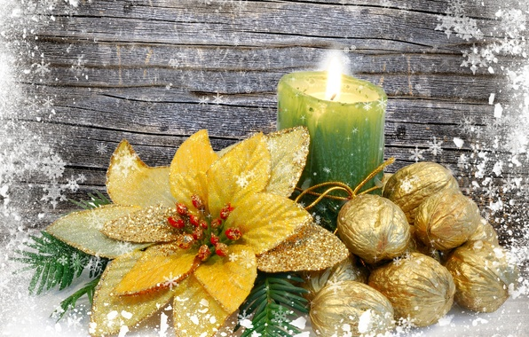 Picture flower, snowflakes, candle, gold plated, nuts