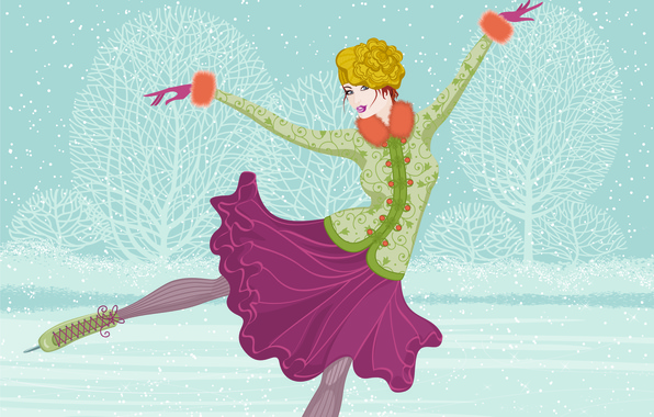 Picture ice, winter, girl, snow, trees, skirt, vector, vintage, skates, riding