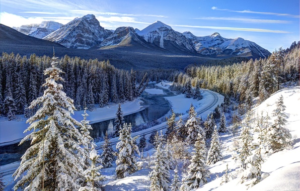 Picture winter, forest, the sun, snow, trees, mountains, river, Canada, railroad, Banff National Park, Bow River