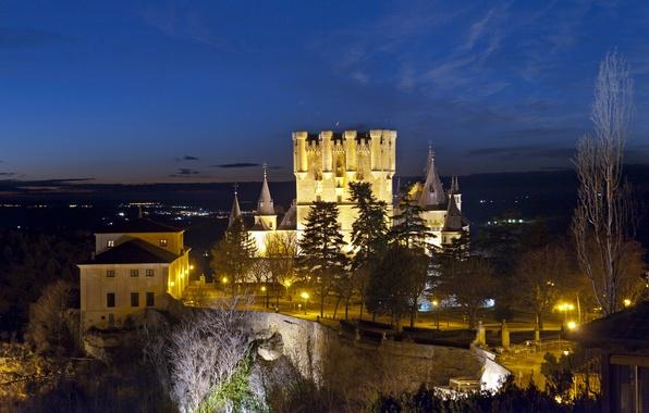Picture photo, Night, The city, Castle, Lights, Spain, Alcazar Segovia