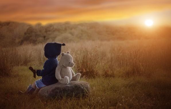 Picture autumn, sunset, stone, toy, boy, bear, child, Teddy bear