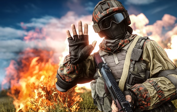 Picture fire, hand, glasses, soldiers, helmet, equipment, Battlefield 4