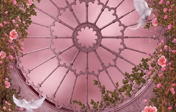 Picture flowers, Gothic, roses, window, pigeons, garland, flowers, dove, roses, pigeon, rose garden, Rose Garden, garlands, …