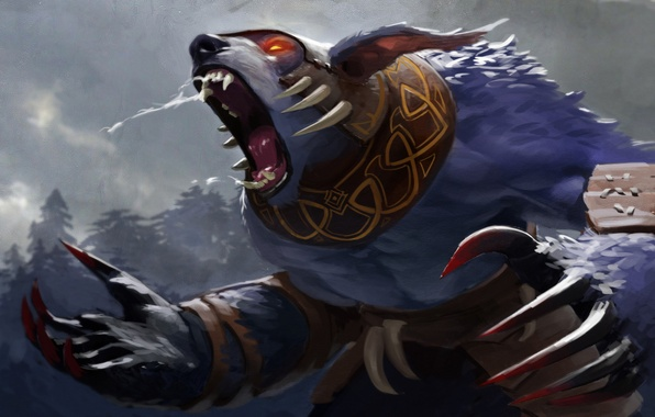 Picture bear, valve, scream, rage, dota 2, claws, Ursa worrior