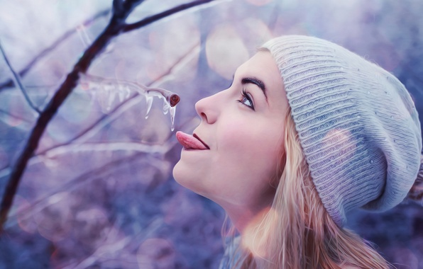Picture ice, winter, language, girl, branch