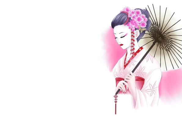 Picture girl, flowers, figure, umbrella, art, geisha, white background, kimono