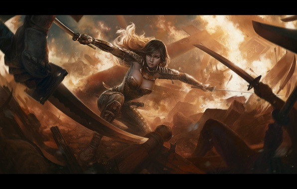 Picture girl, weapons, fiction, fire, art, destruction, attack, armor, battle, swords, George Redreev