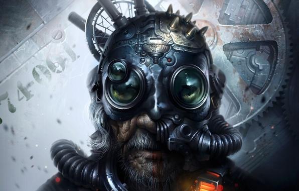 Picture fiction, grandfather, helmet, grandpa, beard, cyberpunk, art