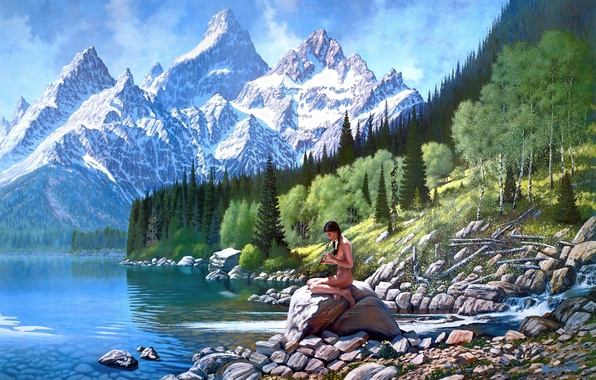 landscape mountains trees. photo wallpaper mountains roy kerswill art trees girl landscape river n