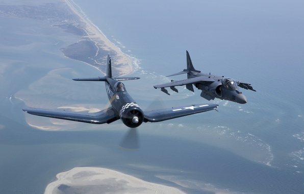"Picture flight, fighter, attack, F4U Corsair, Harrier II, AV-8, ""Le Corsaire"""