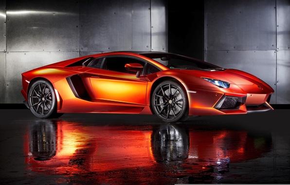 Picture supercar, orange, Lamborghini, rechange, Lamborghini Aventador, hq Wallpapers