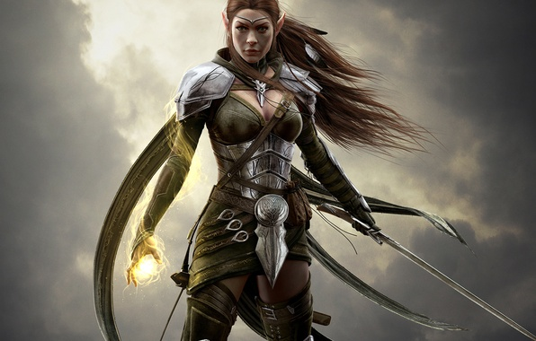Picture the sky, look, girl, clouds, hair, sword, armor, warrior, MAG, armor, Elf, Bethesda Softworks, ZeniMax …
