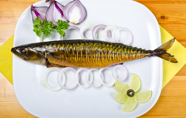 Picture photo, lemon, food, fish, plate, lime, seafood, onion