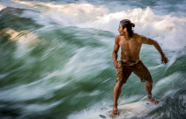 Picture movement, the ocean, wave, surfer, male, guy, dynamics
