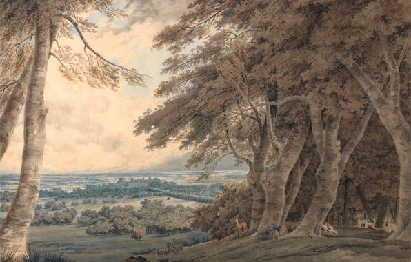 Picture animals, trees, landscape, hills, picture, watercolor, Windsor, William Turner
