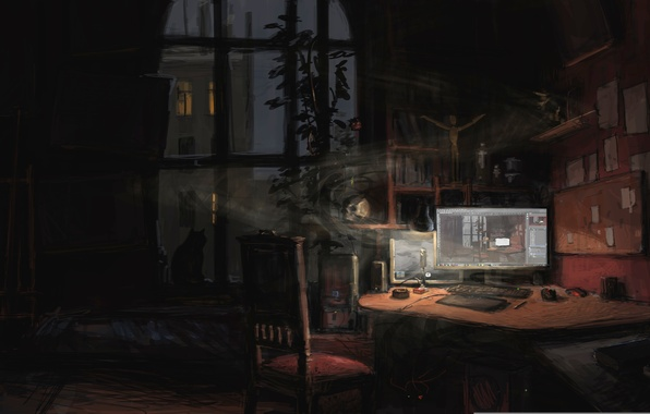 Picture computer, cat, table, room, the evening, window, art, chair, monitor, twilight