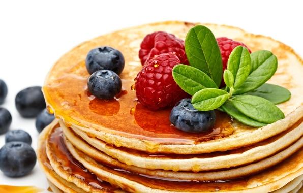 Picture berries, raspberry, blueberries, honey, pancakes, pancakes, pancakes