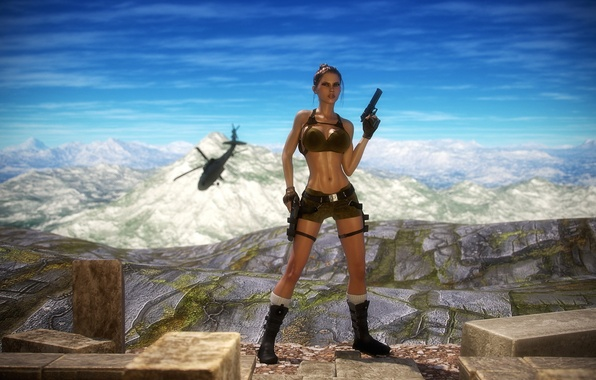 Picture chest, girl, mountains, gun, body, art, helicopter, lara croft, tomb raider