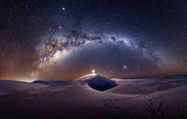 Picture the sky, stars, light, night, the dunes, desert, people, dunes, the milky way