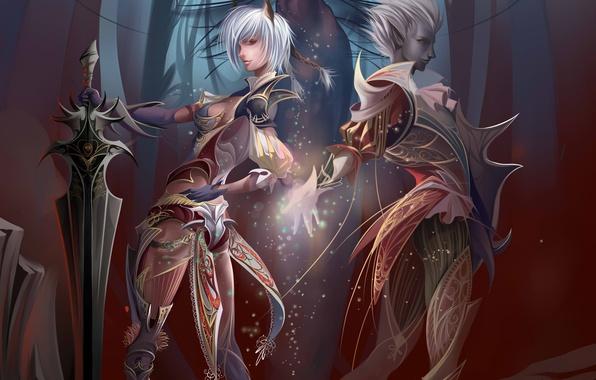 Picture girl, rock, stones, magic, elf, sword, art, guy, Anastasia Bulgakova