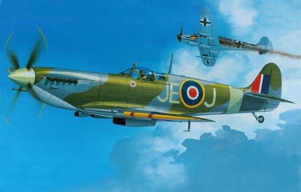 Picture aircraft, war, art, spitfire, airplane, aviation, ww2, dogfight, bf 109, british fighter