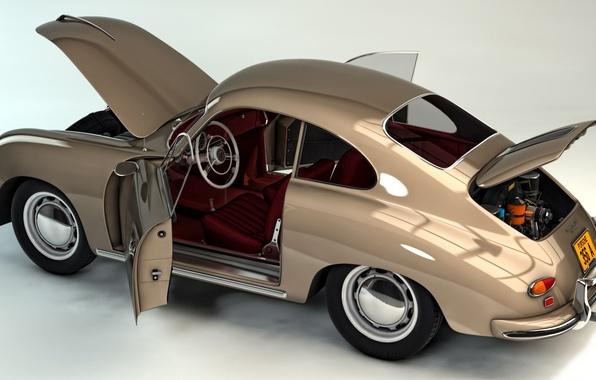Picture auto, abstraction, easy, art, car, sports, two-door, quick, wallpaper., rear-wheel drive, Porsche 356 A, Porsche …
