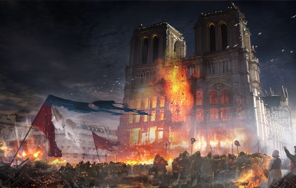Photo wallpaper Our Lady, the building, Assassins creed Unity, France, Paris, the city