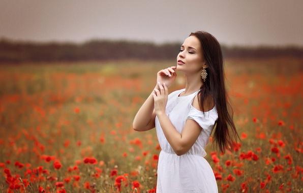 Picture girl, sweetheart, white, tenderness, earrings, dress, brunette, beautiful, cute, beauty, long-haired, Ukrainian, poppy field, Angelina …