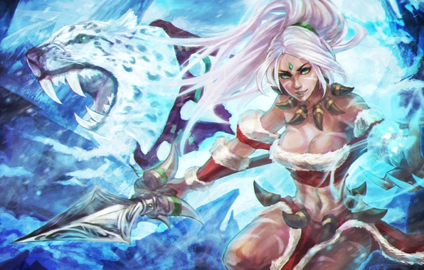 Picture girl, beauty, art, hunter, lol, League of Legends, Nidalee, Bestial Huntress, Snow Bunny