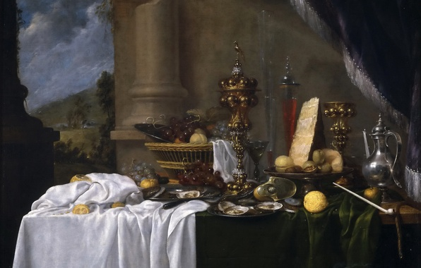 Picture basket, food, picture, vase, pitcher, fruit, still life, oysters, Andries Benedetti, Table with Dessert