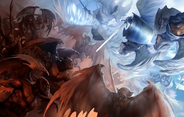 Picture weapons, welcome, wings, sword, angels, art, evil, battle, demons, sakimichan