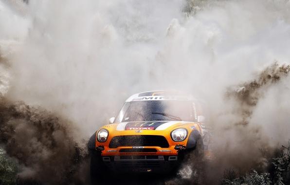 Picture orange, Water, Auto, Mini, Sport, Machine, Race, The hood, Squirt, Mini Cooper, Rally, Dakar, SUV, …