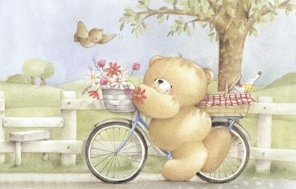 Picture summer, flowers, bike, mood, art, bear, walk, a bunch, children's, Forever Friends Deckchair bear