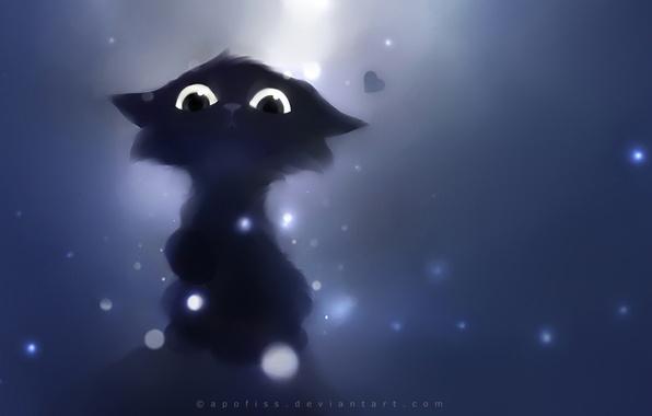 Picture cat, look, black, deviantart, Apofiss