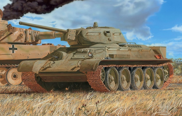 Picture figure, The red army, medium tank, T-34/76, PzKpfw VI Tiger, s. SS-Pz.Dept.102