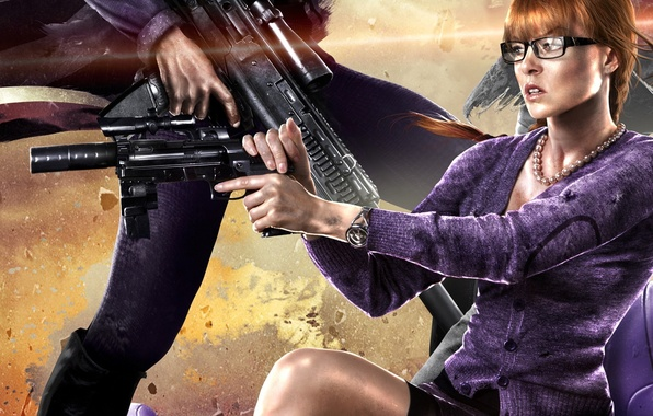 Picture look, girl, decoration, weapons, Saints Row
