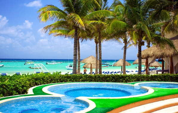Picture sea, beach, the sky, clouds, tropics, palm trees, stay, shore, yachts, pool, horizon, Sunny, Caribbean, …