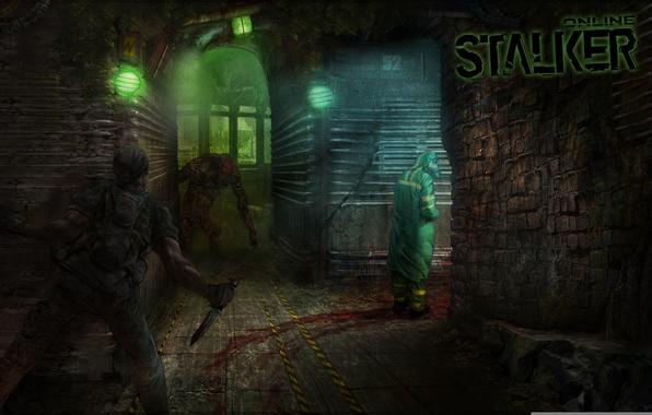 Picture metro, monster, soldiers, Stalker, subway, scientist