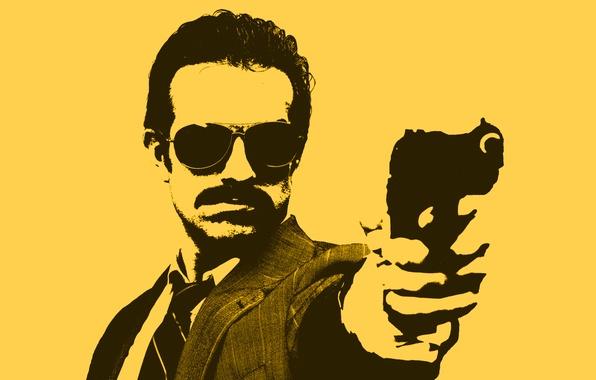 Picture yellow, gun, figure, Minimalism, glasses, male, detective, COP, cop